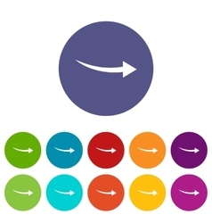 Curve arrow set icons vector