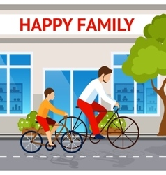 Dad And Son On Bicycles vector image