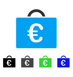 Euro bookkeeping case flat icon vector