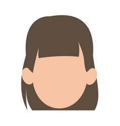 Faceless woman girl cartoon head icon vector
