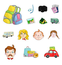 Family holiday cartoon icons in set collection for vector