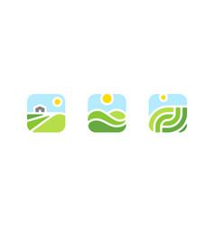 Farm sun field agriculture logo or icon vector