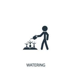 Farmer watering carrots icon simple gardening vector