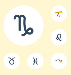 Flat icons lion bull optics and other vector