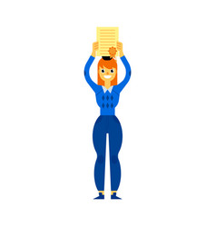 flat student graduate woman with diploma vector image