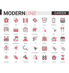 Garden farm tools flat line icon vector