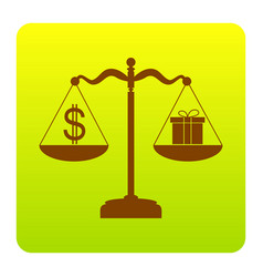 Gift and dollar symbol on scales brown vector