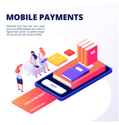girls buy books in mobile app with credit card vector image