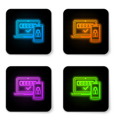 glowing neon multi factor two steps vector image
