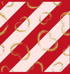 gold heart seamless pattern red-pink geometric vector image