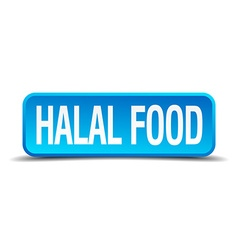 Halal food blue 3d realistic square isolated vector image