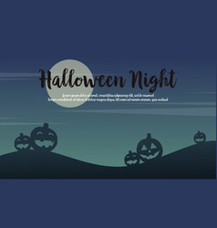 halloween night scenery with pumpkin background vector image