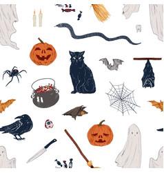 Hand drawn halloween symbol seamless pattern vector