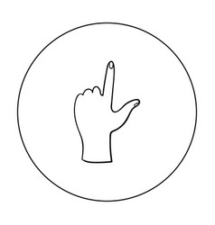 hand touch icon in outline style isolated on white vector image