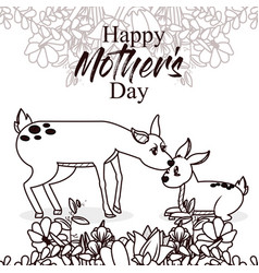 happy mothers day card with cute animals vector image