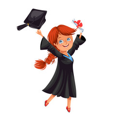 happy smiling girl in gown with diploma throwing vector image
