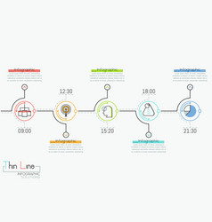 Horizontal timeline with 5 round elements time vector