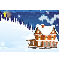 House with a snow covered roof vector