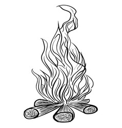 isolated camp fire monochrome vector image