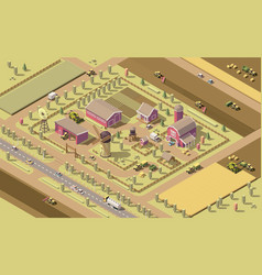 isometric low poly farm vector image