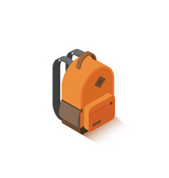 Isometric orange school backpack vector