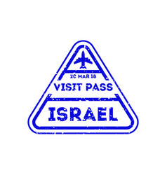Israel city visa stamp on passport vector