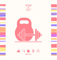Kettlebell and barbell icon vector