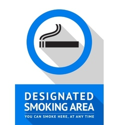 Label smoking area sticker flat design vector