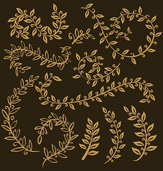 Leaves set leaf outline drawing in vintage style vector