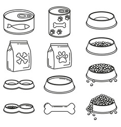 line art black and white 12 pet food elements vector image