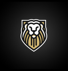 lion shield sport logo e-sport gaming team emblem vector image