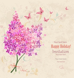 lovely bouquet of Lilac on grunge background vector image