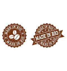 made in rio stamp seals with grunge texture in vector image