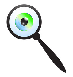 magnifying glass and eyeball vector image