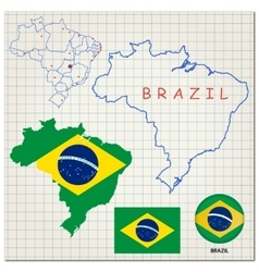 Map and flag of Brazil vector image