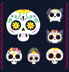 Mexican heads skulls set flat style icons vector