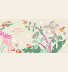mothers day greeting banner with flowers vector image
