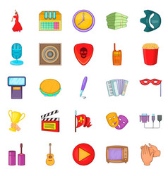 musical performance icons set cartoon style vector image