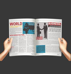 newspaper in hands background poster vector image