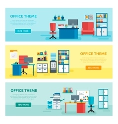 Office Banner Set vector image