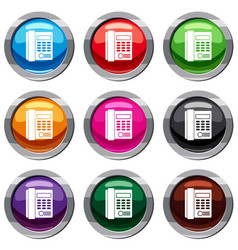 Office business keypad phone set 9 collection vector