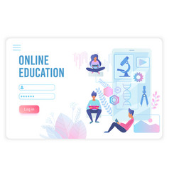 online education flat landing page template vector image