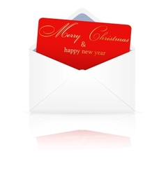 Open envelope with christmas card vector image
