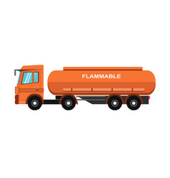 Orange fuel truck vector