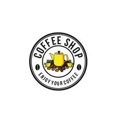 pile of coffee bean and tea pot logo vector image