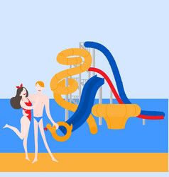 pool party in water park with slides vector image