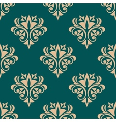 Pretty green retro floral motif wallpaper design vector