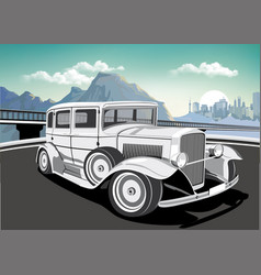 Retro car on a background of mountains and vector