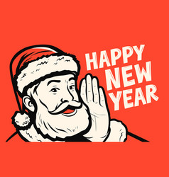 santa claus wishes happy new year greeting card vector image