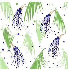 seamless pattern berries and leaves of acai vector image